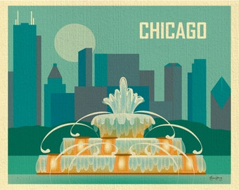 Chicago Art Print, Skyline, Chicago Wall Art, Buckingham Fountain, Chicago Artwork, Chicago Nursery Art, Chicago Wedding Gift -  E8-O-CHI3