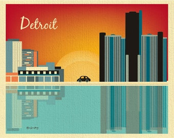 Detroit Skyline Art Print, Detroit  Michigan, General Motors Horizontal Art, Detroit Office Art, Detroit Art, Loose Petals,  style E8-O-DET