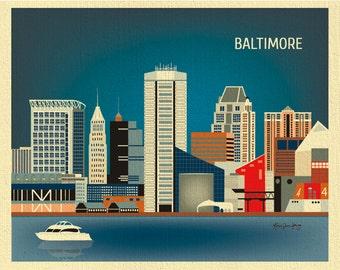 Baltimore Art, Baltimore map, Baltimore skyline poster, Maryland poster, Baltimore MD, Oriels city art  Loose Petals  - style E8-O-BAL
