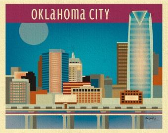 Oklahoma City Print, Oklahoma City Skyline, Oklahoma Wall Art, Oklahoma Horizontal, Oklahoma nursery art, Oklahoma Artwork - style E8-O-OKL