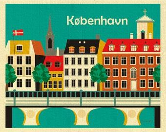 Kobenhavn Print, Kopenhaven Skyline, Copenhagen Wall Art, Denmark Retro Travel Poster, Danish Horizontal Print - style E8-O-COPD
