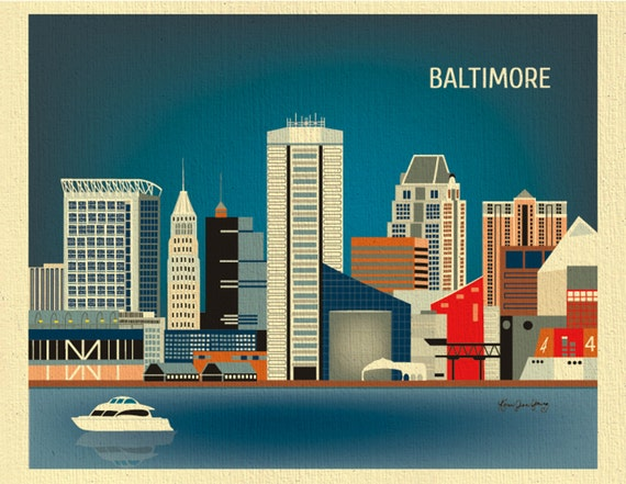 Baltimore Art, Baltimore map, Baltimore skyline poster, Maryland poster, Baltimore MD, Oriels city art  Loose Petals  - style E8-O-BAL