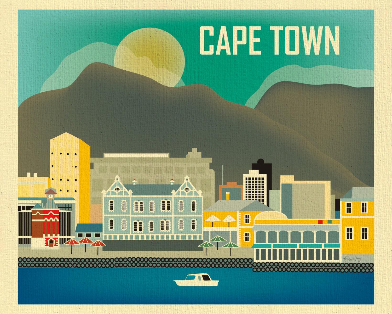 Cape Town Skyline Art Print South Africa Horizontal Art