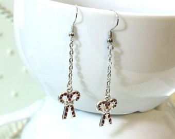 Candy Cane Charm Earrings - Red and White Christmas Candy Cane Long Dangle Enamel Charm Earrings - Christmas Holiday Jewelry