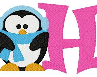 Penguin // 5x7 // Monogram Embroidery Font Design Set, Machine Embroidery Designs // Joyful Stitches