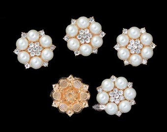 10 pcs. RD433 Gold Pearl Rhinestone Flatback Embellishment Button Brooch DIY Bridal Brooch Wedding Jewelry Invitations Bouquet