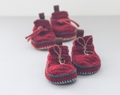 Sale - Children Boot-laced Boots in rusty red and green turquoise trim - House Shoes - Children U.S. size 8 EUR 25 - 20% off