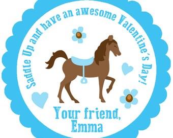 Horse Valentine's Day Stickers --  horse valentines day stickers -- Horseback riding Valentine Sticker