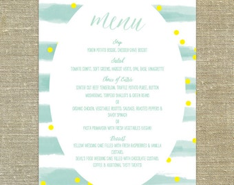 """Watercolor Stripes Menu; 5x7"""" customizable with your wedding colors"""