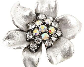 Silver Flower Crystal Pin Brooch 1001141