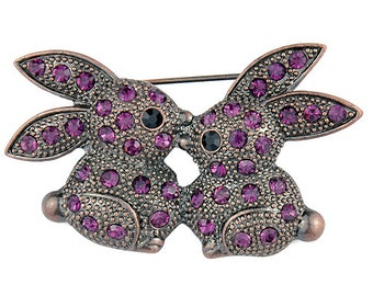 Amethyst Purple Kissing Bunny Pin 1002421