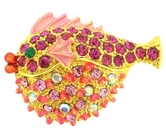 Pink Fish Crystal Brooch Pin 1010741