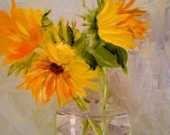 SUNFLOWER  - print of my original oil painting - 4 sizes