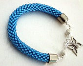 Acquamarine Bead Crochet Bracelet - Aqua Blue Bangle - Blue Beaded rope bracelet