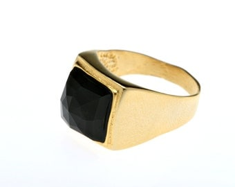 Pinky Ring, Tiny Gold Ring, Small Black Onyx Ring, Pinkie Ring, College Ring, Gemstone Ring, Stamp Ring