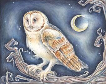 Original Watercolour 10X8 barn oWL.. Not a print ..original painting, animal ,fine art,