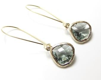 Gift Gray earrings Teardrop earrings Gift Gray dangle earrings Gray drop earrings Gold teardrop earrings Bridesmaid earrings Gift for her