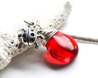 Ladybug Necklace,  Red Glass Wire Wrapped Pendant, Ruby Czech Glass, Sterling Silver Ladybug Charm, Nature Jewelry