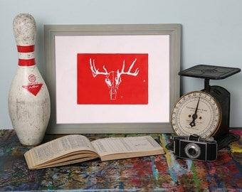 Red Taxidermy Deer Skull Hand Pulled Block Print 7x5