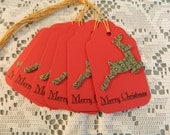 Set of 6 Reindeer Holiday/Christmas Tags In Red & Green