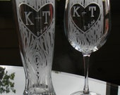 Mix and Match Wine and Pilsner Set with Carved Tree and custom initials