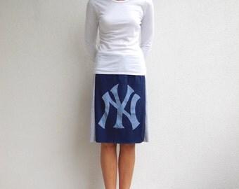 New York Yankees T Shirt Skirt Women's TShirt Skirt Gray Blue White Casual Drawstring Straight Knee Length Skirt Cotton Skirt Spring ohzie