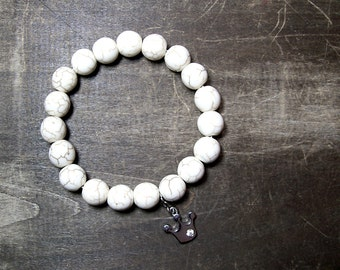 White Howlite Beaded Bracelet - Minimalist Stretch Stacking Bracelet - Crown Charm
