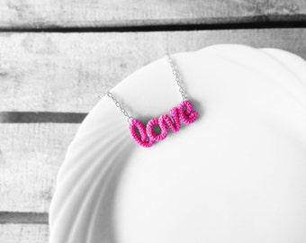 Love - Word Pendant Necklace - Romantic Pink Necklace - Valentines Day Gift - Love Jewelry