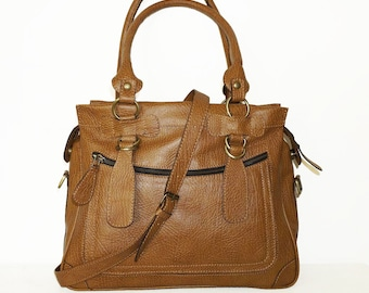 Tan Genuine Leather Bag Cross-body purse Handbag Rina / SALE