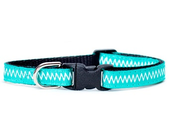 "Cat Collar - ""The Teal The Cats Come Home"" - Geometric Print"