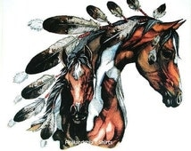Womans T Shirt Native American Indian War Pony Paint Mare and Colt Free Shipping to USA