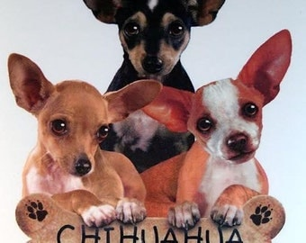 Chihuahua Dog Womans T Shirt Puppies with Bone Biscuit Free Shipping to USA 10977