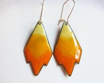 Orange enamel dangle earrings Gold wires Yellow boho tribal geometric earrings Enameled bohemian jewelry