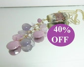 RESERVED NOW 40% OFF  Pendant on Chain featuring Dawn Teskey Lampwork Bead with Lavender Gemstone Briolettes