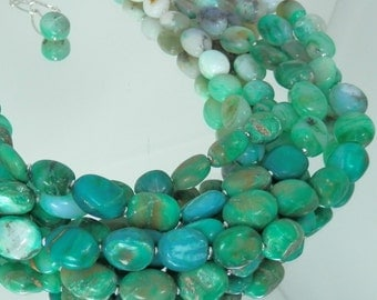 Big and Bold Multistrand Peruvian Blue Opal Necklace