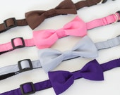 SUPER SALE!  9 colors to choose from, UsagiTeam designer dog collars with bowties Brown, Pink Purple, Sky Blue, Mint or Beige Polkadot