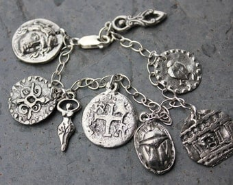 Ancient symbols and civilizations bracelet - pewter charms, sterling silver chain - Egyptian, African, Roman, Goddess - Free shipping USA