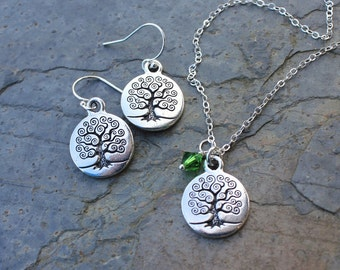Celtic Tree of Life necklace & earring set - Fern Green Swarovski crystal or birthstone or pearl, sterling silver chain - free shipping USA