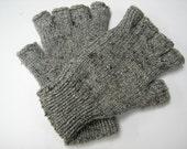 Half finger gloves Tweed look, Hand Knitted fingerless gloves.