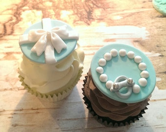 Teal Fondant Cupcake Toppers Pearls and Bows Fondant Cupcake, Cake, Cookie Toppers Set includes 12 (one dozen)