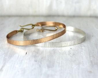 Silver and Bronze Textured Bracelet, Thin Shale Bracelet