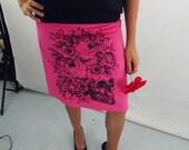 Dia de los Muertos Skull in Black on Pink Corduroy Aline Cotton Skirt