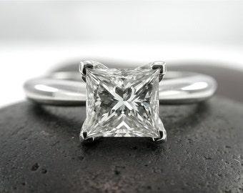 Princess Cut Engagement Ring, Princess Cut Diamond Ring, 1 Carat, Certified Engagement Rings, Solitaire Engagement Ring, Princess Diamond