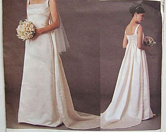 Badgley Mischka Misses' Sleeveless Wedding Gown Dress with Detachable Train Vogue 2626 Sewing Pattern UNCUT Sizes 18, 20, 22