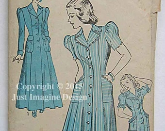 Vintage 1940's Misses' Housecoat or Dress Advance 4760 Sewing Pattern Size 14