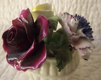 Vintage Crown Royal England Bone China Flowers Figurine
