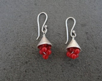 Coral Grapes Earrings