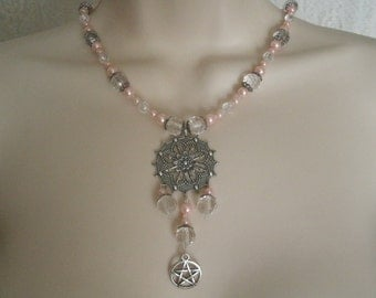Pink Pentacle Necklace, wiccan jewelry pagan jewelry wicca jewelry goddess metaphysical pentagram witchcraft witch necklace wiccan necklace