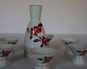 Japanese Sake Set  - Sake Bottle and 6 Cups - Hand Painted- VIntage