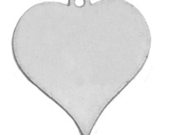 Stamping Blank Aluminum Heart w/ Ring- 7/8 inch Impressart-Soft Strike Aluminum -20 Gauge- 6 pack Metal Supply Chick
